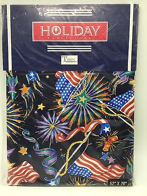 NEW Tobin Holiday Tablecloth Independence Day Patriotic Flag 52 x 70 Fireworks