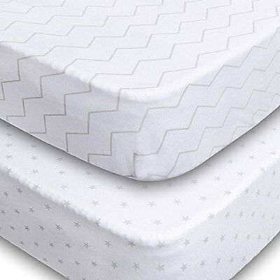Crib Sheets - 2 Pack Fitted 100% Soft Jersey Cotton Sheet