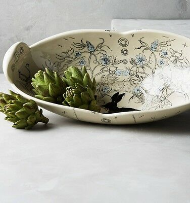 NIB Anthropologie DIANA FAYT Sketched Silhouette Serving Bowl Rabbit Flowers