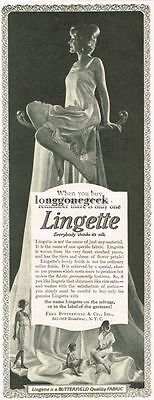 1924 Lignette Lingerie Fabric Women's Slips Pajamas Fashion Vtg Print Ad