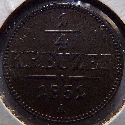 1851-A  Austria Copper 1/4 Kreuzer! Au! Original Chocolate Toning! Km# 2180