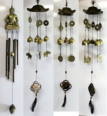 Lucky Chinese Feng Shui Wind Chimes & Coins: Elephant; Buddha; Dragon Turtle