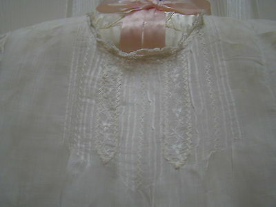 """Antique Infant Long White Dress Lawn Fabric Embroiderd Doll Dress It is 34"""" long"""
