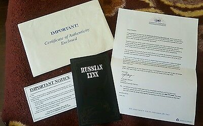 Russia Proof Gold 200 Rubles Lynx Paperwork only. NO coin.