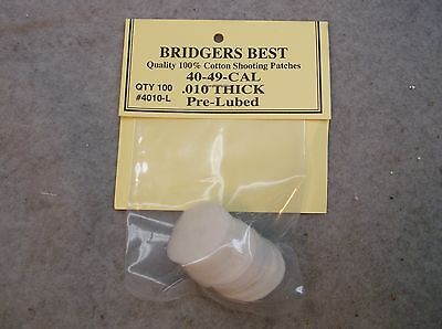 "Bridgers Best Lubed Shooting Patches 40-49 Caliber .010"" Thick Stock # 4010L"
