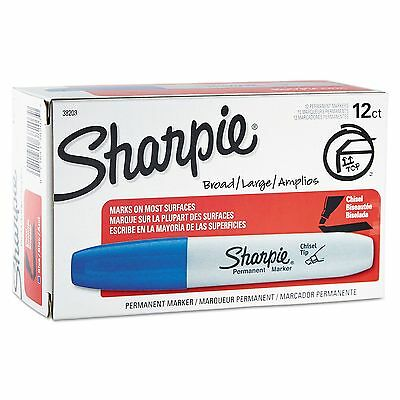 SHARPIE 38203 5.3 mm PERMANENT MARKER Pens * BROAD/LARGE * BLUE * Box of 12