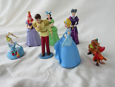 Disney Lot 8 PVC Cinderella Figures: Prince, Step Sisters, Mice -  Cake Toppers