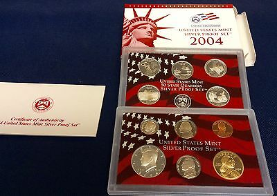 2004-S state Quarters Silver Proof Set With Box & COA