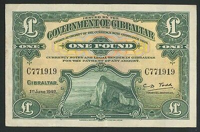 RARE WWII - Gibraltar £1 Banknote dated 1942 (P.15b1) Signed Todd gVF