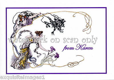 Personalized Art Nouveau Lady~Iris NEW Large Note Cards