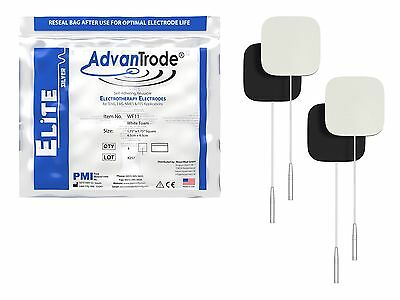 40 Piece AdvanTrode TENS EMS Silver Electrodes for devices with 2mm Connection