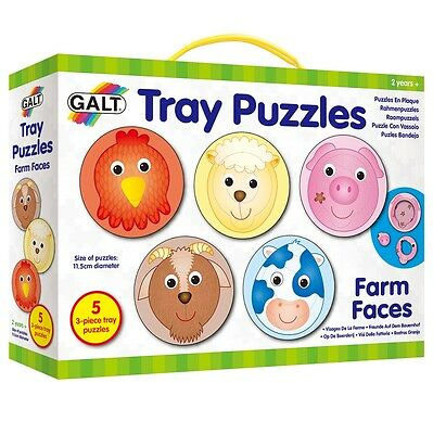 GALT Toys Tray Activity Puzzle Matching Game For Children/Kids - Farm Faces