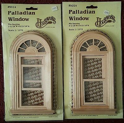 2 Houseworks Dollhouse Wooden Palladian Window 1:12 New