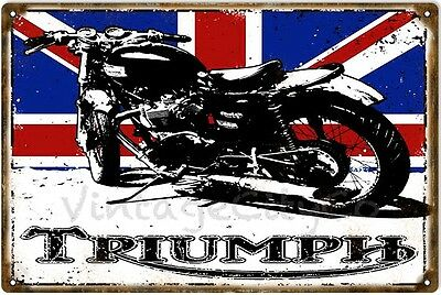 """Antique Style """" Triumph Motorcycles with British Flag """" Metal Sign - Rusted"""