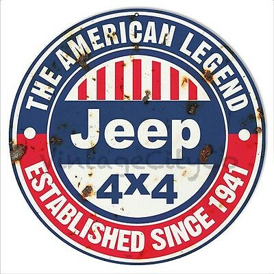 "Antique Style "" Jeep - The American Legend, Established 1941 "" Metal Sign Rusted"