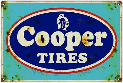 """Antique Style """" Cooper Tires """" Advertisement Metal Sign - Rusted"""