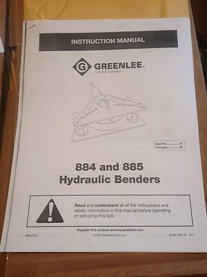 Greenlee Instruction Operators Manual Parts List 555 777 881 882 883 884 885 855