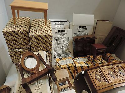 Lot of 40 Vintage Dollhouse Wood Furniture With Boxes Wholesale 1:12 Scale