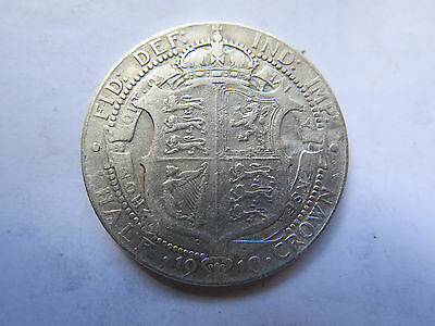 1910 Great Britain Silver Half Crown King Edward Vii Nice Collectable Condition