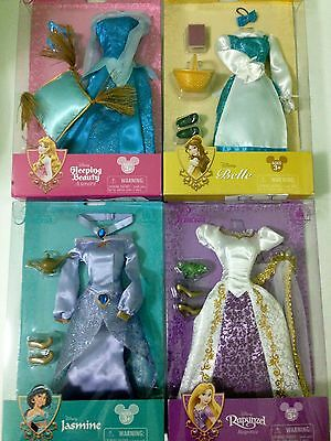 "(4) Disney Princess Costume Set Dolls Clothes 12"" Rapunzel/Jasmine/Belle/Aurora"