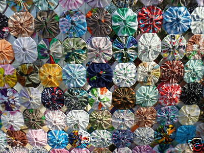 Antique vintage YoYo patchwork hand sewn and hand pieced old bed quilt cover
