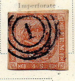 Denmark - 4s yellow-brown colour variation from 1854-57 set. Scott #4a USED