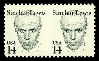 US #1856c 14¢ Sinclair Lewis, Imperf Imperforate Pair, VF NH MNH