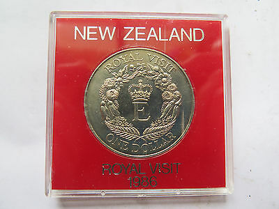 Cased 1986 New Zealand Dollar Coin Crown Queen Eliz Ii Royal Visit Uncirculated