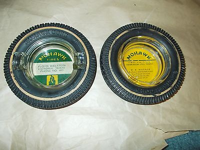 2 Vintage Mohawk Tire Ashtray's In Good Condition