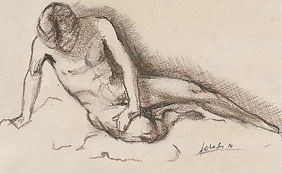 Male nude mixed media drawing,Original Australian art,charcoal and conte crayon