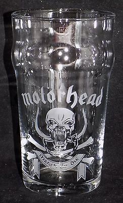"New Etched ""MOTORHEAD PINT GLASS""  - Can Be Gift Boxed - Original Gift"