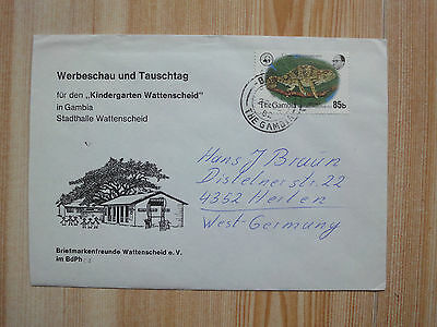 gambia 1981 wwf fauna 1982 year post cover to germany rare