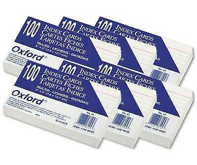 "Oxford Index Cards Ruled 3 x 5""  100 Cards White Commercial Quality 6 Pack New"