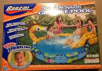 NEW Banzai Spray 'N Splash Giraffe Pool & Slide Inflatable Kids Swim Sprinkler