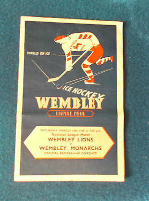Wembley Lions v Wembley Monarchs 19/3/49 Ice Hockey programme.