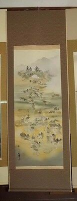japanese hanging scroll   Old Japanese agricultural picture   (rokuiti tanaka)