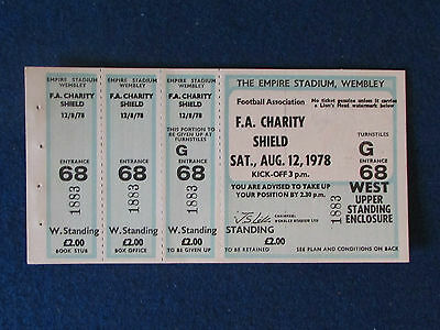 F.A.Charity Shield 1978 Ticket - Nottingham Forest v Ipswich Town - 3 STUBS -