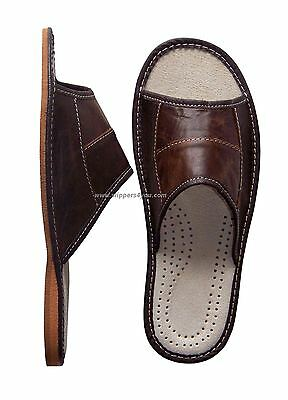 Men's Leather Slippers Shoes Mules Brown Slip On Uk Size 6-11 Sale Open Peep Toe