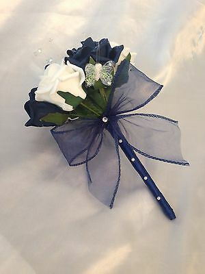 Artificial Navy Ivory Foam Rose Flower Girl Bouquet Wand Wedding Flowers Posie