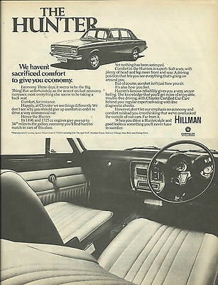 HILLMAN HUNTER range advert original cutting from 1975 UK car magazine