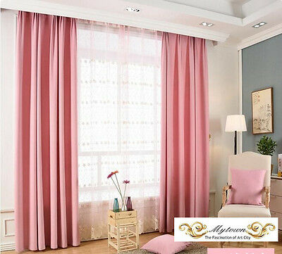 Quality Eyelet Ring Top Curtain Linen Velvet 80% Blockout Blackout Curtains Pink