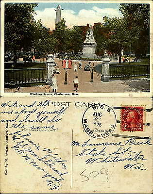 Winthrop Square Charlestown MA statue USS MARBLEHEAD Navy ship cancel 1926
