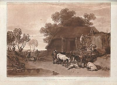 Original Turner, The Straw Yard, drawn and etched by J M W Turner, 1808