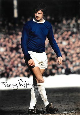 tommy wright everton 1964-74 in action signed 12x8 photo