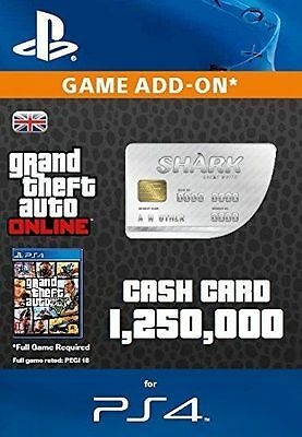 Grand Theft Auto Online: Great White Shark Cash $1,250,000  PS4 PSN GTA 5 V Code