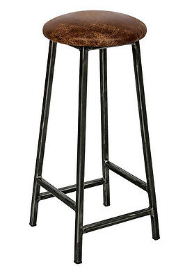 Metal Industrial Traditional Commercial Domestic Pub Bar Stool with Leather Seat
