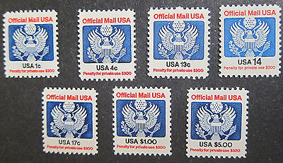 US,Official Mail 7stamps set, O127-133, MNH