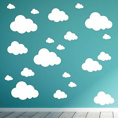 Pack of 21 vinyl Cloud stickers, wall art sticker decal clouds. Childrens room