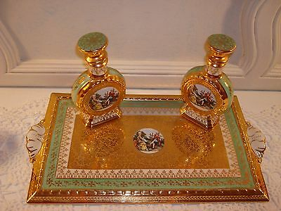 Vtg French Le Mieux Pair Perfume Bottles & Tray 24K Gold Gilt~Stunning & Mint