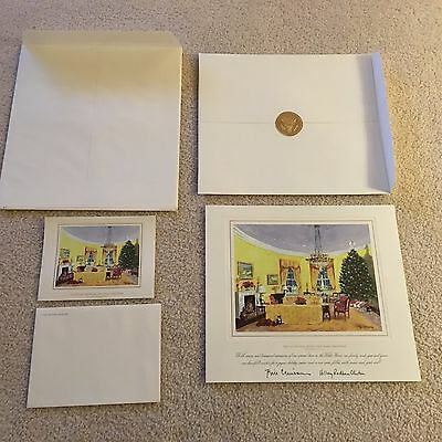 2000 White House Christmas Large & Small Cards- President Bill & Hillary Clinton
